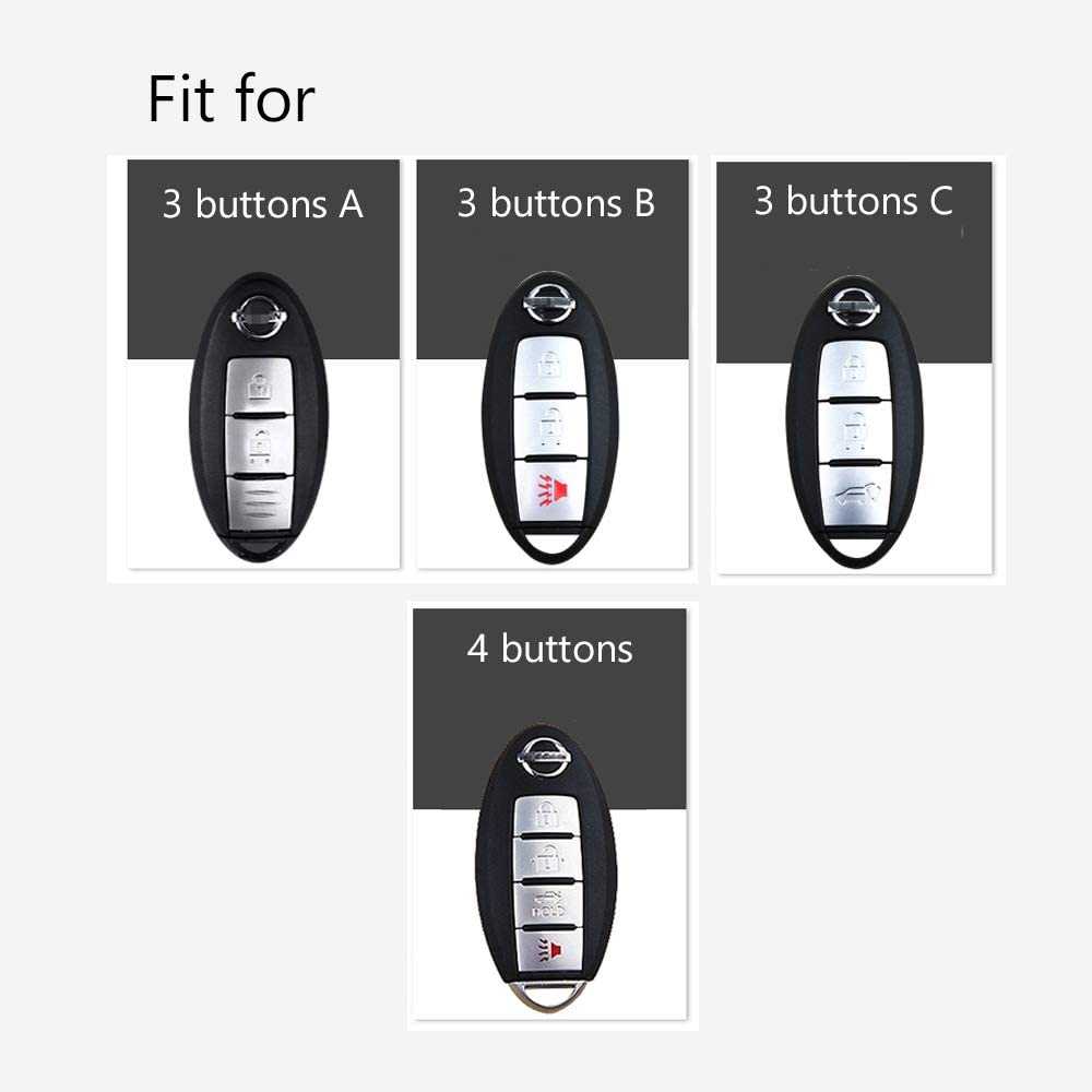ontto car key case for Nissan ABS /& Sillicone Key Shell Case with Keyring keychain Fit for NISSAN Maxima Altima Sentra Murano Juke Carbon Black