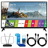 LG LJ550B Series 32'' Class Smart LED HDTV (2017 Model) - 32LJ550B w/ TV Cut The Cord Bundle Includes, Durable HDTV & FM Antenna, 2x 6ft. High Speed HDMI Cable & Screen Cleaner for LED TVs