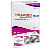 #9: Antiseptic Wipes – (Pack of 200) Antibacterial Hand Sanitizer Wipes and Benzalkonium Chloride Swabs Individual BZK Single-Use Packets Clinically Proven, Kills Bacteria and Germs by MEDca