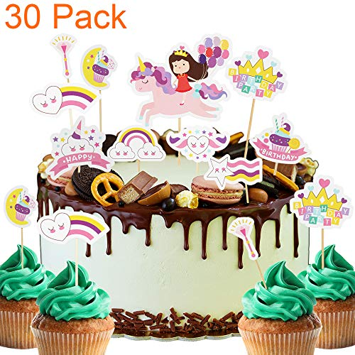 30 Pack Rainbow Unicorn Baby Girl Magical Themed Cupcake Toppers For Baby Shower Kids Birthday Cake Fruit Doughnut Biscuits Party Toothpick Decorations.