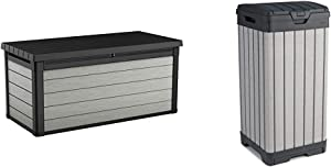 Keter Denali 150 Gallon Resin Large Deck Box-Organization and Storage, Grey & Black & Rockford Resin 38 Gallon Trash Can with Lid and Drip Tray, Grey