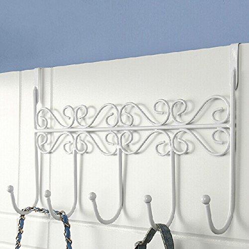 Gordan Over The Door Hooks, Door Hook Euro Style Iron Art Back Door Hanger Hook with 5 Hook 3 Colors
