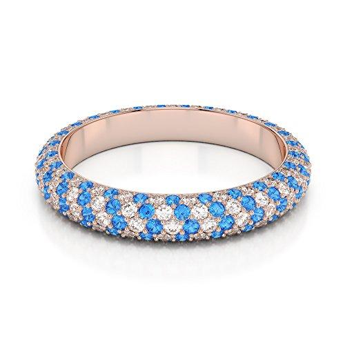 Or Rose 18carats 0,60CT G-H/VS sertie de diamants Coupe ronde Topaze bleue et bague éternité Agdr-1116