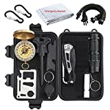 Proster Survival Gear 13 in 1 Emergency Survival kit Multi-functional Survival Tool with Fire Starter Saber Card Scraper for Camping Hiking Climbing Traveling Adventures