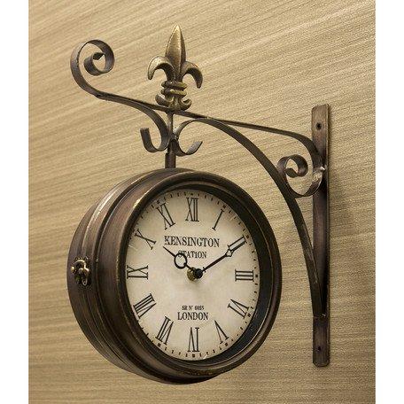ステーションクロック ボスサイド ウォールクロック/壁掛け時計 ブロンズ/Lサイズ 両面時計 おしゃれ時計 アンティーク 北欧雑貨 両面時計 B01AJ2FTDQ