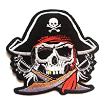 Cool Pirate Patch ''7.0 x 7.4 cm'' - Embroidered Iron On Patches Sew On Patches Embroidery Applikations Applique Catch The Patch