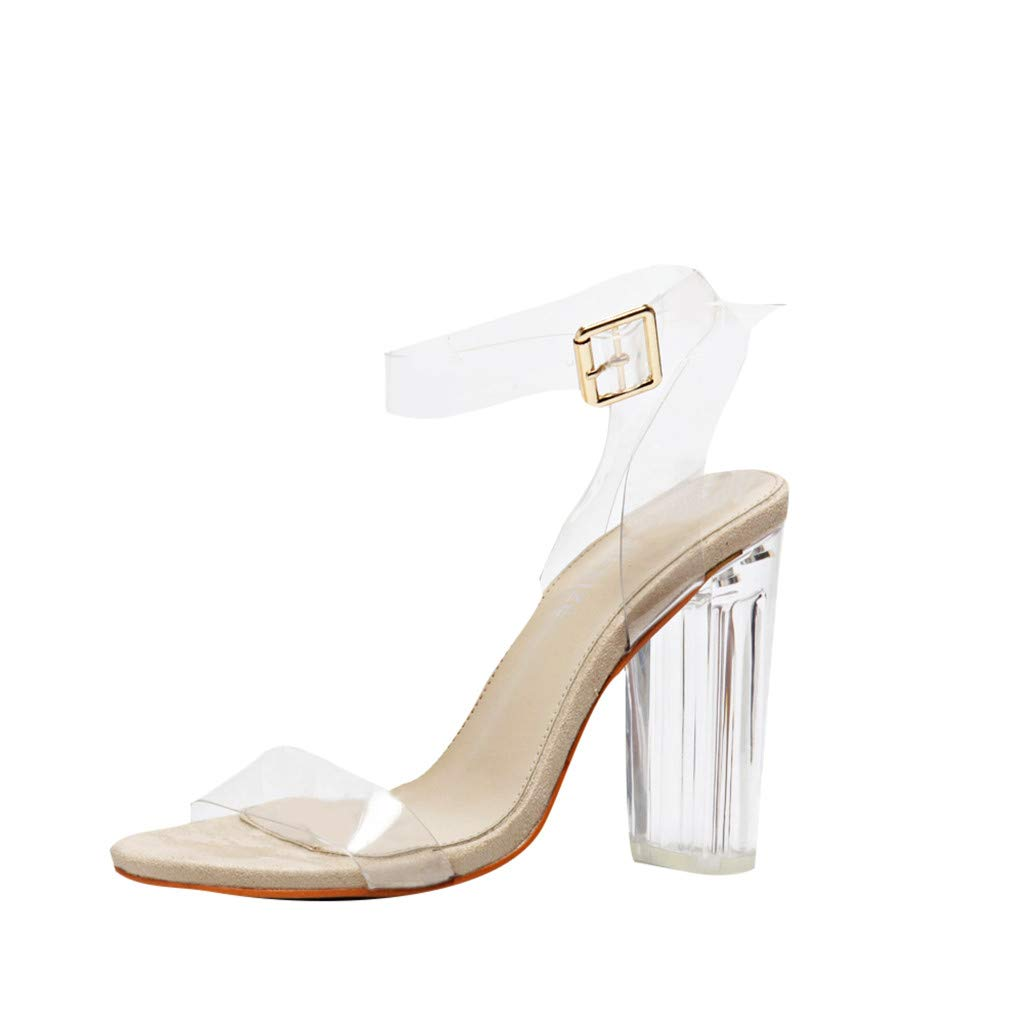 Randolly Women's Shoes Summer Buckle PVC High-Heeled Peep Toe Sandals Transparent Crystal Shoes Brown