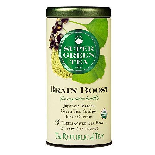 The Republic Of Tea Brain Boost Supergreen Tea, 36 Tea Bags, Ginkgo Biloba And Matcha Tea Blend
