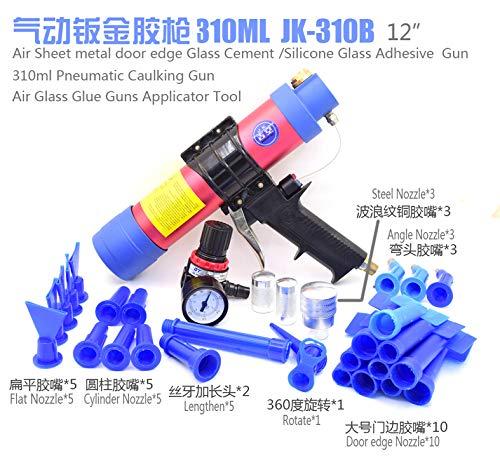 310ml Pneumatic Glass Glue Gun Silicone Gun Air Soft Glue Tool Cone Cartridge Caulking Gun Nozzle for Car Door Boat (Set 4)