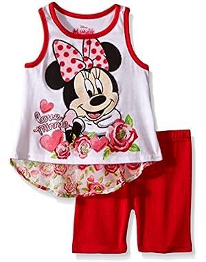 Girls' 2 Piece Minnie Mouse Hi-lo Chiffon Back Bike Short Set