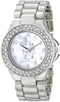Disney Women's Mickey Mouse Mother-of-Pearl Dial Tone Watch White MK2055