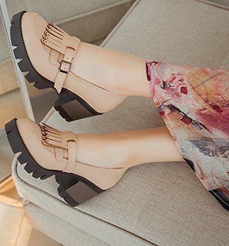 Mostra Brillare Moda Donna Fibbia Nappe Scarpe Tacco Alto Albicocca