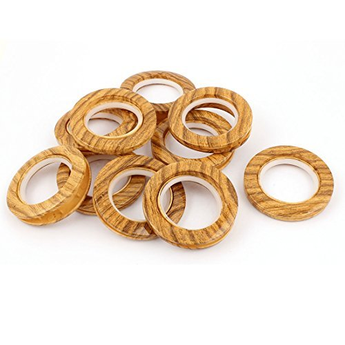 Curtain Bamboo Rings Shower - DealMux Marble Pattern Bathroom Shower Curtain Ring Hook 10 Pcs Wood Color
