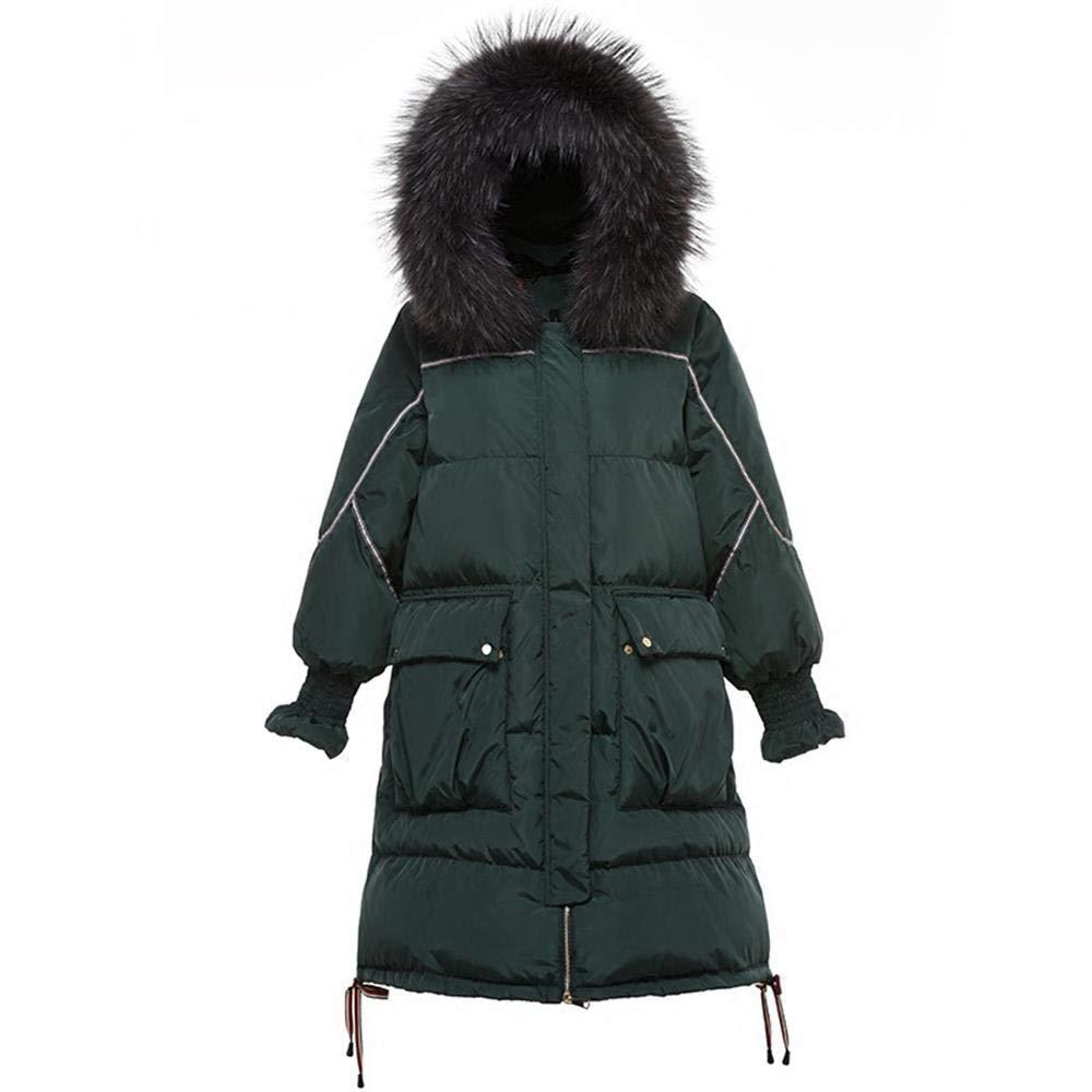 KBY-MM Weiße Entendaunen Große Pelzkragen Daunenjacke Damen Lange Wintermode Jacke
