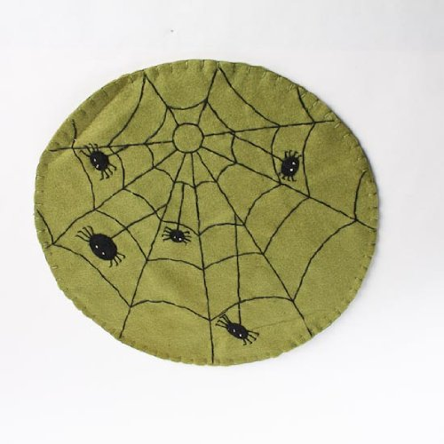 [Set of 2 Halloween Spider Web Design Doilies, Placemats or Candle Mats for Halloween or Gothic] (Halloween Decor Homemade)