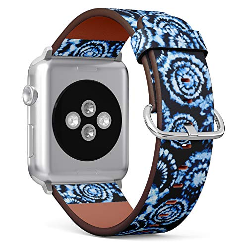 ((Modern Batik tie dye Pattern) Patterned Leather Wristband Strap for Apple Watch Series 4/3/2/1 gen,Replacement for iWatch 42mm / 44mm Bands)