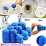 10Pcs Automatic Bleach Toilet Bowl Tank Stain Remover Blue Tab Tablet Detergent for Household Kitchen Toilet - Blue