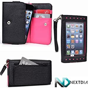 Smartphone Wallet for Archos 40b Titanium with Exposed Screen to View Alerts  Black and Hot Pink Magenta + NextDia Velcro Strap
