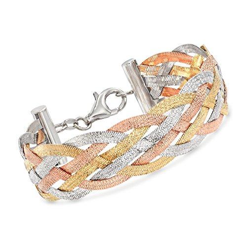 Ross-Simons Italian Tri-Colored Sterling Silver Reversible Braid Bracelet