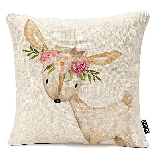 Throw Pillow Cover Floral Bohemian Boho Woodland Watercolor Baby Nursery Girl Decorative Pillow Case Home Decor Square…