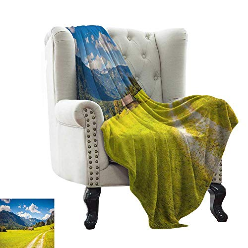 WinfreyDecor Home Throw Blanket Julian Alps Mountain Valle Rural with Wooden Country House Paradise Picture Ultra Soft and Warm Hypoallergenic 60