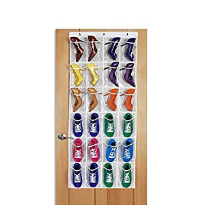 24 Pockets Over The Door Shoe Organizer Crystal Clear Hanging Storage Bag with 3 Hooks by Hippih