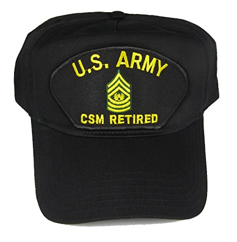 U S ARMY CSM RETIRED with COMMAND SERGEANT SERGEANT RANK INSIGNIA HAT - Black - Veteran Owned Business (Veteran Cap Insignia)