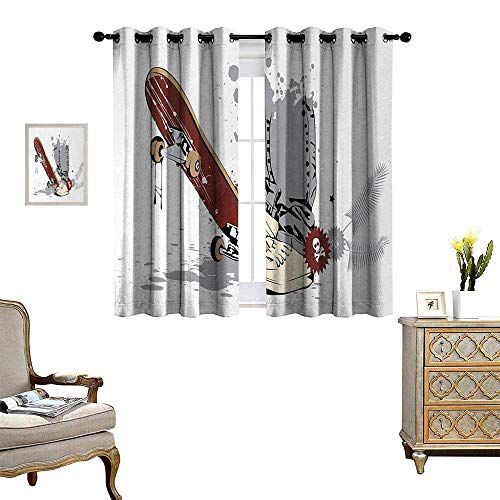 Anyangeight Teen Room Room Darkening Wide Curtains Skateboard with Boy Feet in The Sneakers and Jeans Illustration Decor Curtains by W55 x L39 Grey Cream Chestnut Brown
