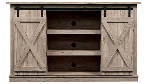 Comfort Smart Wrangler Sliding Barn Door TV Stand, Ashland Pine - Console Home Entertainment Center