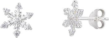 """SIX """"Geschenk"""" Schnee Flocken Ohr Stecker aus 925er Silber mit Glitzer Steinchen (435-252)"""