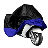 Motorcycle Cover Waterproof Outdoor Weather Protection Black Up XXL - Blue