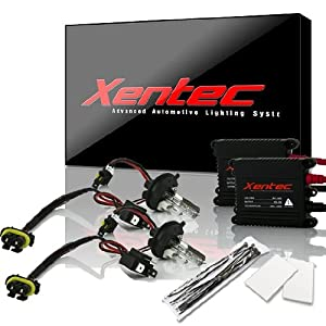 XENTEC H4 Hi/Lo 10000K AC Advanced Slim Ballast HID Xenon Kit w/ Hi-beam Halogen (HB2/9003 Brillant Blue)