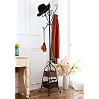 MyGift Victorian Style Freestanding Metal Scrollwork Coat Rack with 2 Storage Baskets, Black