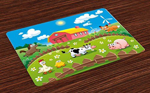 Lunarable Cartoon Place Mats Set of 4, Farm with Cow Fox Chicken Pig Horse in The Fences Countryside Rural Children Design, Washable Fabric Placemats for Dining Room Kitchen Table Decor, Multicolor