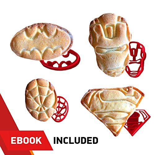 SUPERHERO COOKIE CUTTERS by WNF Craft - For Extra Fun Baking - Includes Iron Man Superman Spider-man Batman molds. Safe and Plastic. Perfect for Making Cookies, Mini Sandwiches, Shapped Cheese -