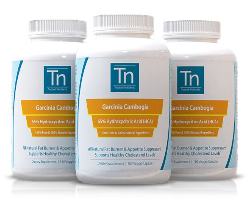 Trusted Nutrients Garcinia Cambogia Extract: 100% Pure, 1000mg Per Veggie Cap, 65% HCA, 3x 180 Count, Serving Size Just 1 Veggie Cap