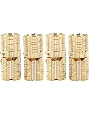4-delig/pakket messing verborgen - barrel scharnier onzichtbaar verborgen koperen scharnieren meubelscharnieren voor DIY houten deur geschenkdozen juwelendoosje handgemaakt goud, 180 ° openingshoek