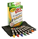 Crayola; Dry-Erase Crayons; Art Tools; 8 Count; Washable; Perfect for Classroom Art Activities; Includes Sharpener and Erase Cloth