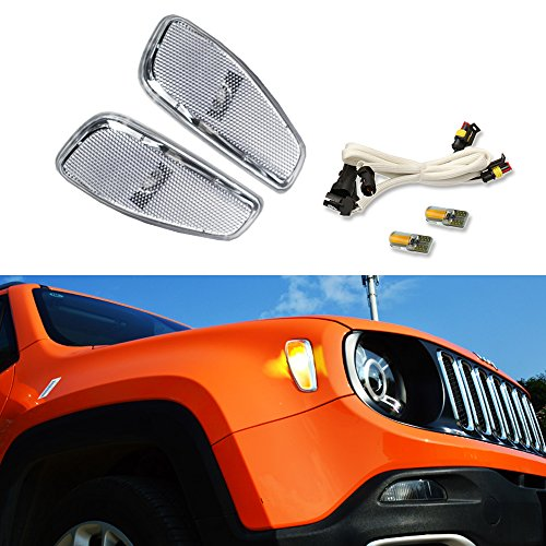 (Clear Lens Amber LED Lights By GTinthebox Side Marker Turn Signal Clearance Lamps Update Kit For Jeep Renegade 2014 2015 2016)