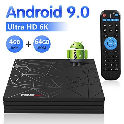 Android 9.0 TV Box, YAGALA T95 MAX Android Box 4GB DDR3 64GB eMMC WiFi 2.4G 1080p 6K HDR Smart TV Media Box