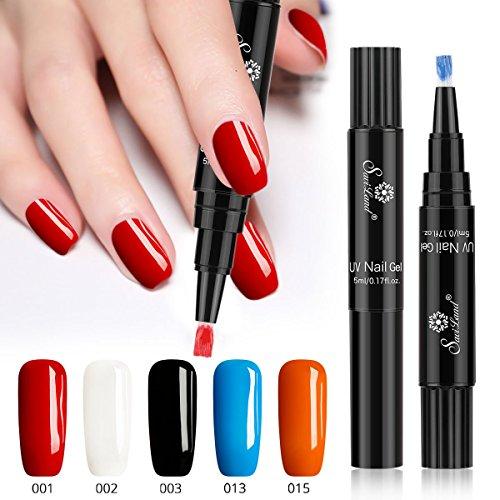 One Step Gel Nail Polish Pen, No Base Top Coat Need, Saviland 3 in 1 Soak Off UV LED Nail Varnish Nail Art Kit (Red white black blue)