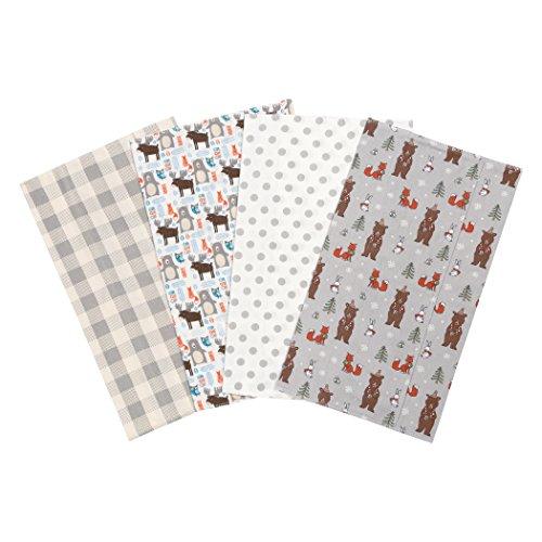 Trend Lab Scandi Cocoa Flannel Burp Cloth Set, 4 Piece -