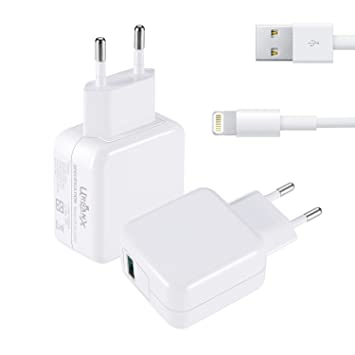 UrbanX 18W Cargador USB Quick Charge 3.0 - Cargador de Viaje Enchufe Carga Rápida para iPhone X XS MAX XR 8 7 6 6S Plus iPhone iPad Air Pro Mini (con ...