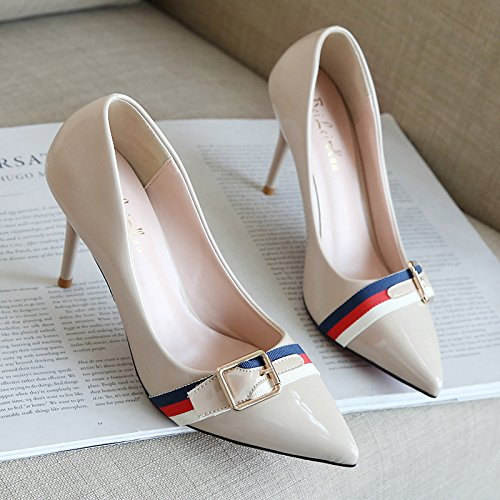 The beige heel tip elegant 9 shoes career the women's fine with cm 39 Xue shoes light and women with shoes single sleek Qiqi high versatile of 5qxq8wFtg