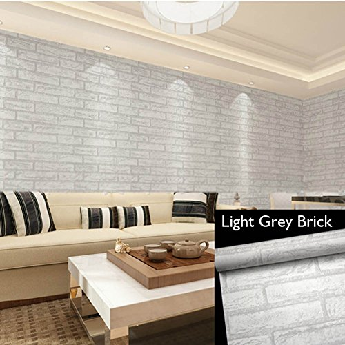 Brick Wallpaper Self-Adhesive Contact, Removable 3D Print Wallpaper Faux Light Grey Color Brick, No Residual, Easy to Put Up and Realistic Look for Home Bar Wall (Rustic Tile Wallpaper)