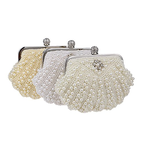 Bag Party Women's Clutch Dinner Fly Package Pearl Beige Beaded white Color evening Evening Creamy bag Fashion wCqxqYpA