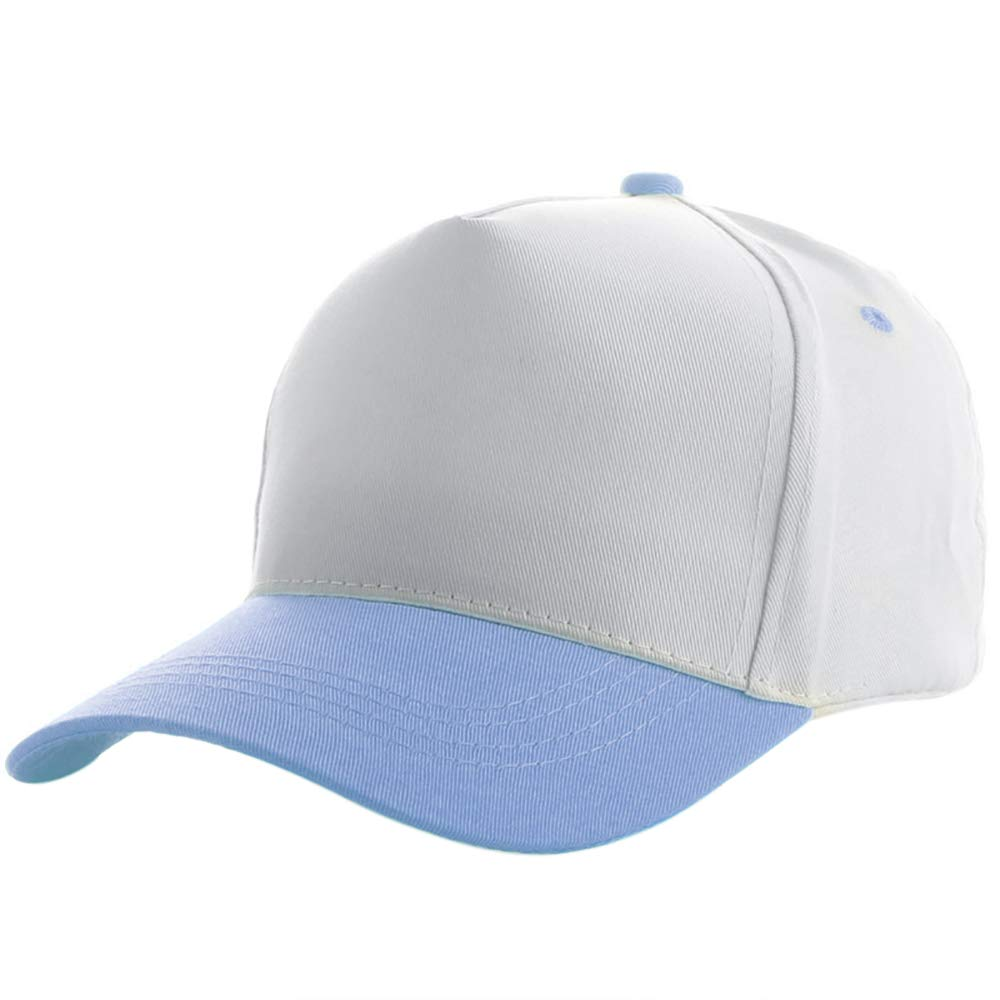 Opromo Kids Two Tone Low Profile Plain Baseball Cap Children Adjustable Hat-Light Blue-96PCS