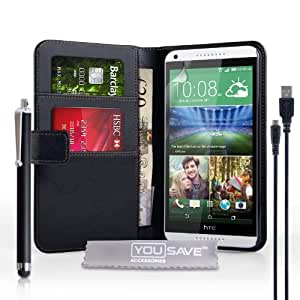 Yousave Accessories HTC Desire 816 Negro Funda de piel sintética con lápiz capacitivo y Micro USB