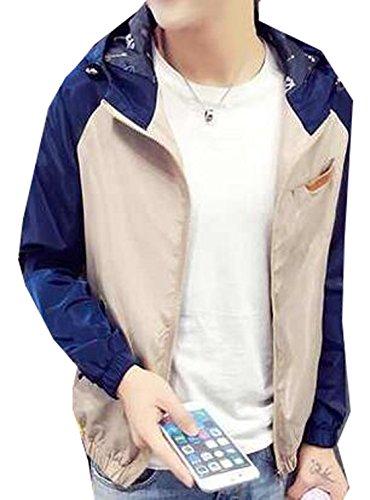 Generic Mens Fashion Korean Slim Fit Color Matching Hooded Jacket 6 XXXL