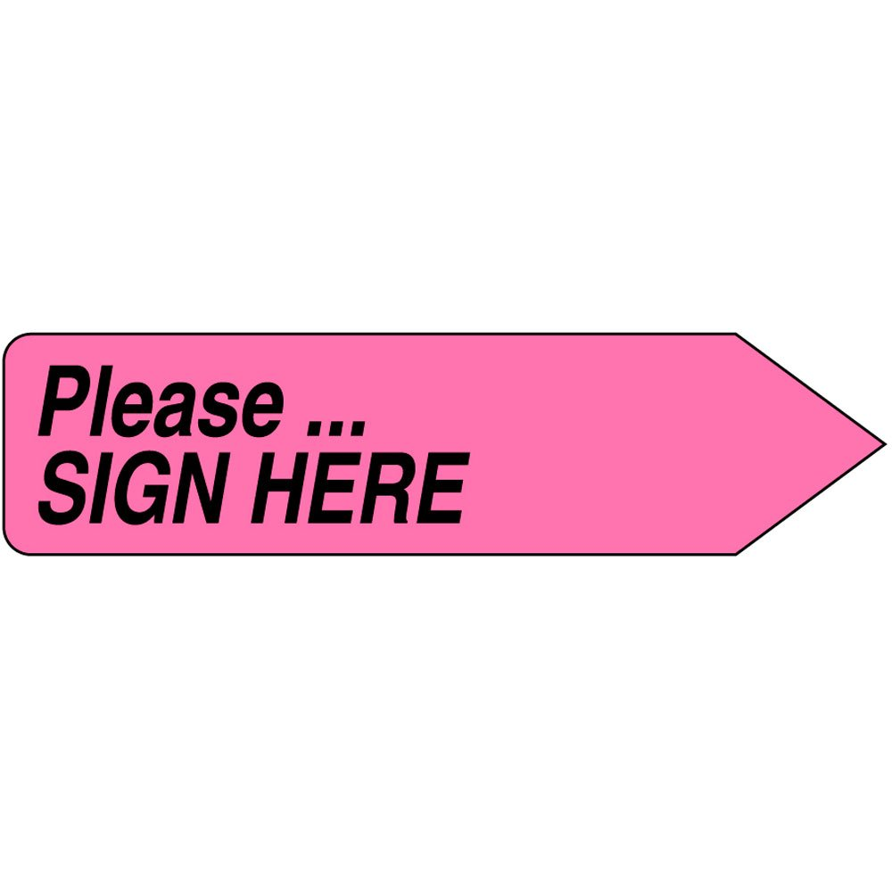 Spee-D-Point SDP-24 Flags and Tags, ''Please...Sign Here'', Removable, 9/16'' x 2 1/4'', Hot Pink (Pack of 150)
